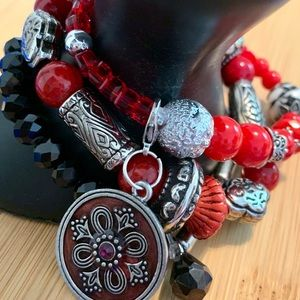 Stretch bracelet, red, silver and black beading